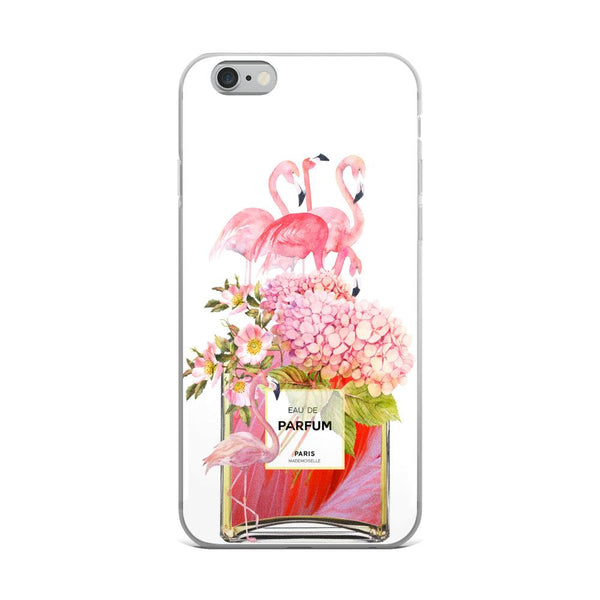 Flamingos and Flowers Perfume Bottle White iPhone Case - Rock Salt Prints Ltd