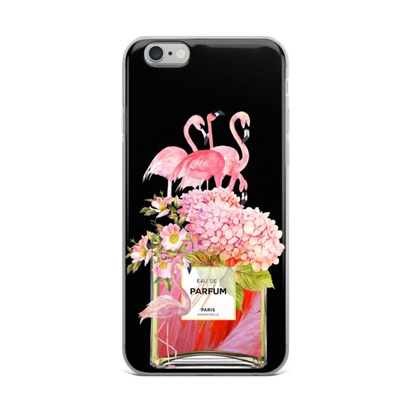 Flamingos and Flowers Perfume Bottle Black iPhone Case - Rock Salt Prints Ltd