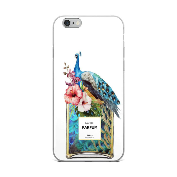 Peacock/Floral Perfume Bottle White iPhone Case - Rock Salt Prints Ltd
