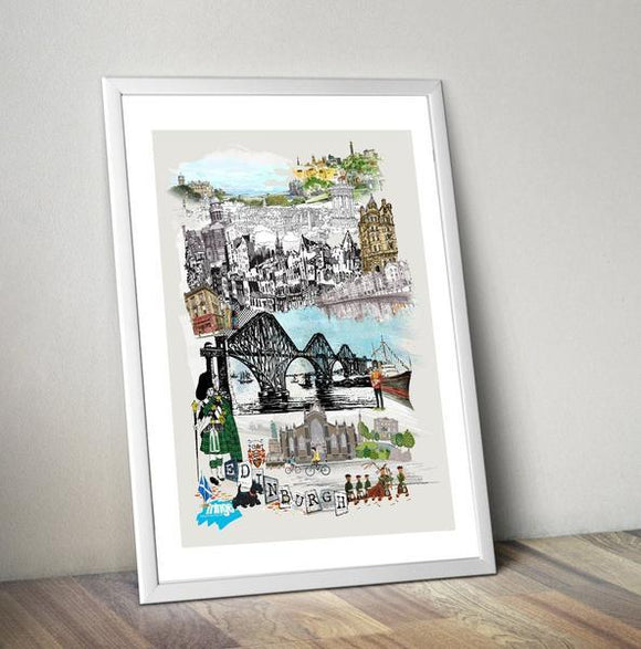 Edinburgh Retro City Print - Rock Salt Prints