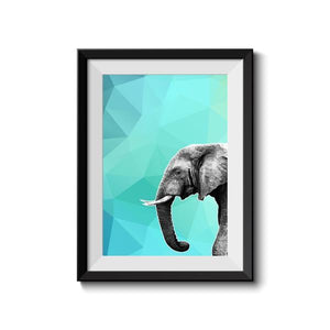 Elephant 001 Blue Abstract Animal Art Print - Rock Salt Prints Ltd