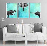 Elephant 002 Blue  Abstract Animal Art Print - Rock Salt Prints Ltd