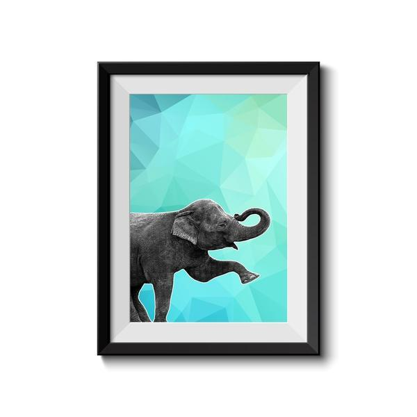 Elephant 004 Blue  Abstract Animal Art Print - Rock Salt Prints