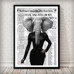 Elephant Lady - BLACK AND WHITE Newspaper Animal Art Print - Rock Salt Prints Ltd