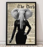 Elephant Lady - Old News Paper Animal Art Print - Rock Salt Prints