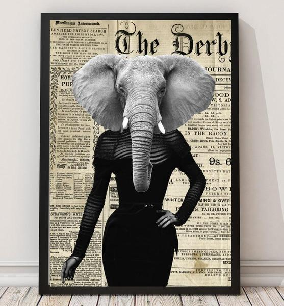 Elephant Lady - Old News Paper Animal Art Print - Rock Salt Prints Ltd