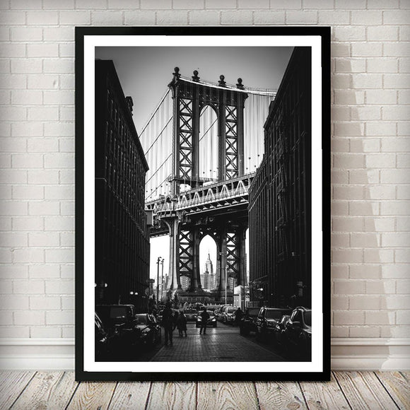 Empire State Building Sits Inside the Manhattan Bridge New York City Art Print - Rock Salt Prints Ltd