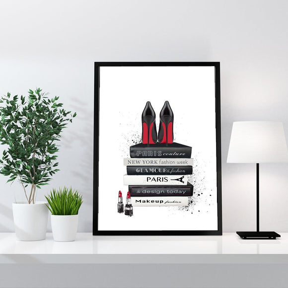 Fashion Books and Black AND Red Heels Fashion Art Print - Rock Salt Prints