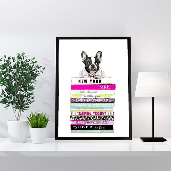 Fashion Books and Bulldog DOG Puppy Fashion Art Print - Rock Salt Prints Ltd