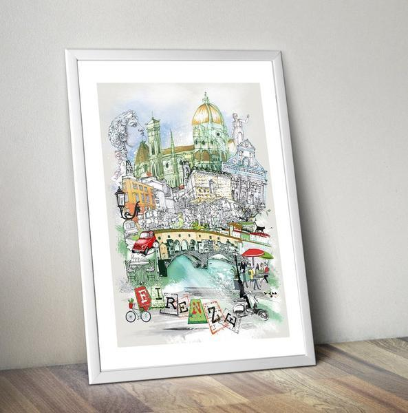 Firenze Retro City Print - Rock Salt Prints Ltd
