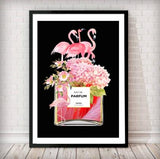 Flamingos and Flowers Perfume Bottle Art Print - in black NEW - Rock Salt Prints