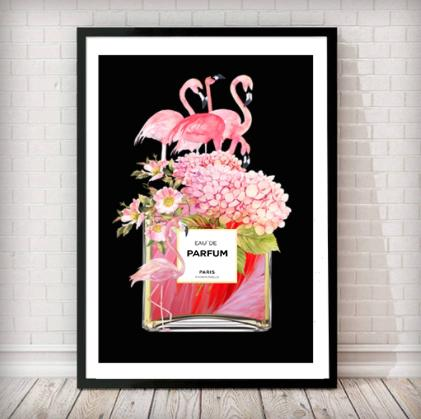 Flamingos and Flowers Perfume Bottle Art Print - in black NEW - Rock Salt Prints Ltd