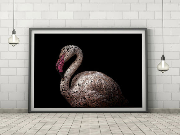 Flamingo Light Pink Abstract Animal Nature Art Print - Rock Salt Prints