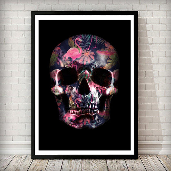 Flamingo Tropical Skull Fashion Art Print - Rock Salt Prints
