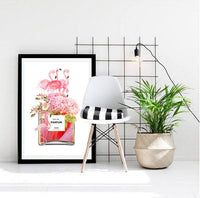 Flamingos and Flowers Perfume Bottle Art Print - in white NEW - Rock Salt Prints Ltd