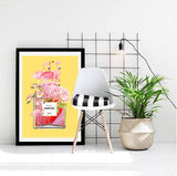 Flamingos and Flowers Perfume Bottle Art Print - in yellow NEW - Rock Salt Prints Ltd