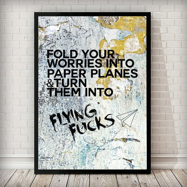 Flying Fuck Old Wall Typography Fashion Art Poster - Rock Salt Prints