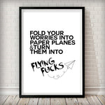 Flying Fuck White Typography Fashion Art Poster - Rock Salt Prints