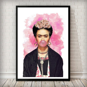Frida Kahlo Pink Bubblegum Fashion Iconic Art Print - Rock Salt Prints Ltd