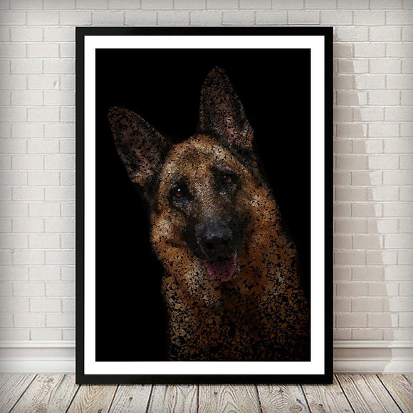 German Shepherd Dog Pet Abstract Animal Nature Art Print - Rock Salt Prints