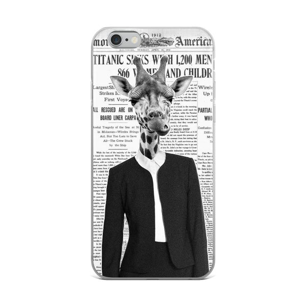 Giraffe Lady Old Newspaper iPhone Case - Rock Salt Prints Ltd
