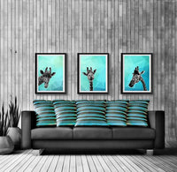 Giraffe Blue Abstract 001 Animal Art Print - Rock Salt Prints Ltd