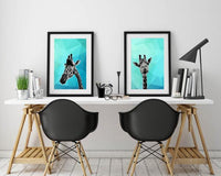 Giraffe Blue Abstract 002 Animal Art Print - Rock Salt Prints Ltd