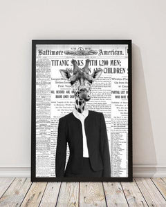 Giraffe Lady - Old News Paper Animal Art Print - Rock Salt Prints Ltd