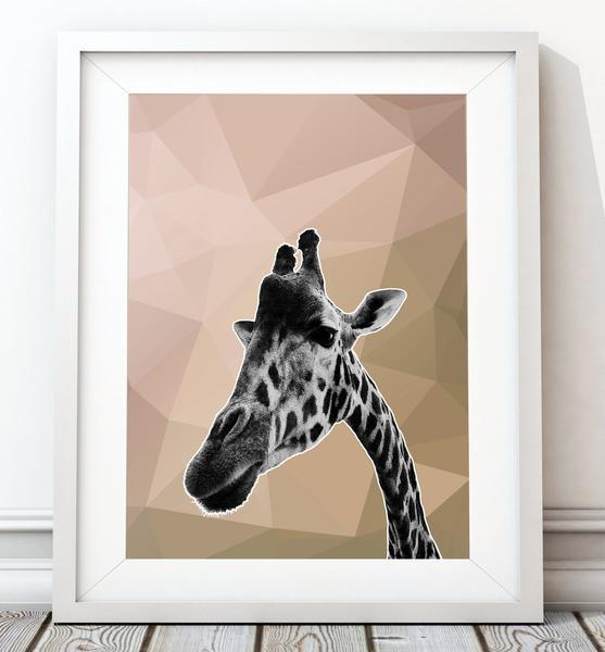 Giraffe Beige Abstract Animal 003 Art Print - Rock Salt Prints Ltd