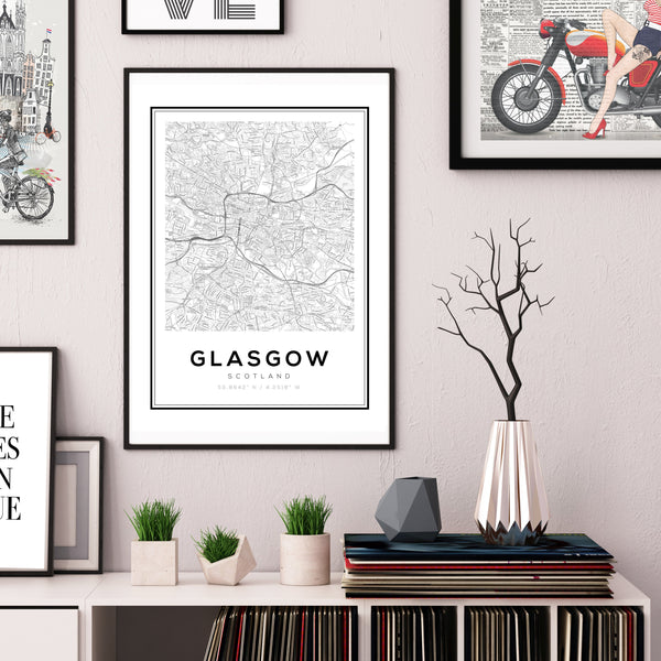 Glasgow City Map Art Print - Rock Salt Prints Ltd