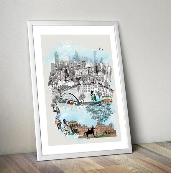 Glasgow Retro City Print - Rock Salt Prints Ltd