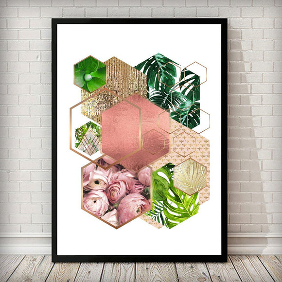 Hexagon 001 Gold Rose and Tropical Art Print - Rock Salt Prints
