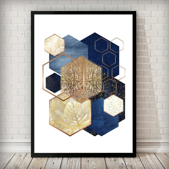 Hexagon 001 Gold Navy Blue Art Print - Rock Salt Prints