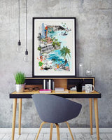 Honolulu Retro City Print - Rock Salt Prints