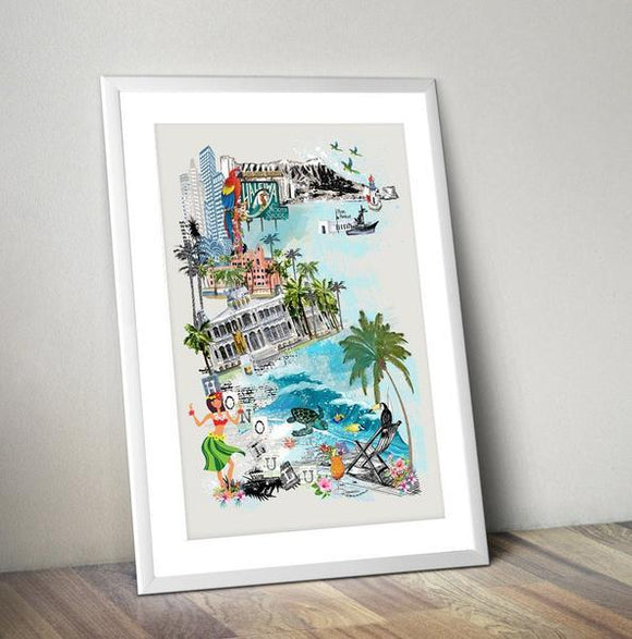 Honolulu Retro City Print - Rock Salt Prints Ltd