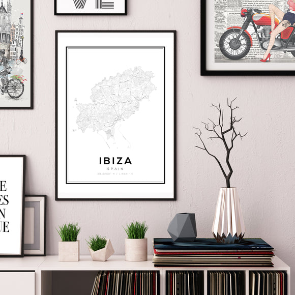 Ibiza City Map Art Print - Rock Salt Prints
