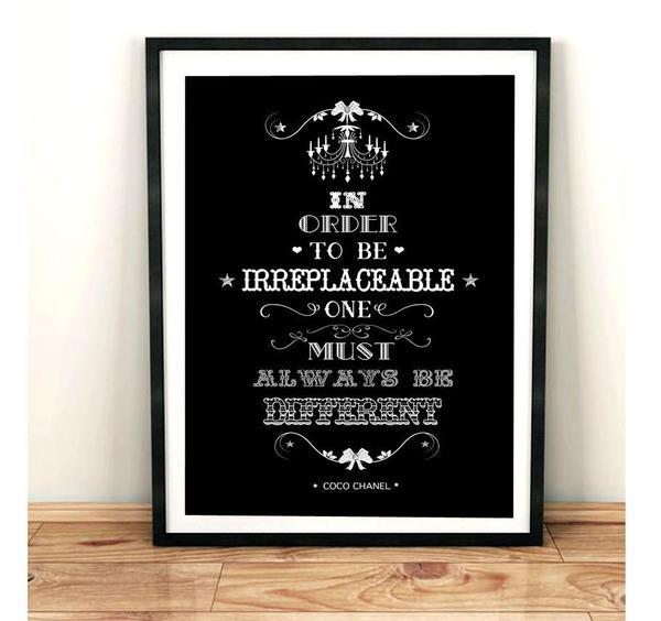 In Order To be Irreplaceable - Black Typography Art Print - Rock Salt Prints Ltd