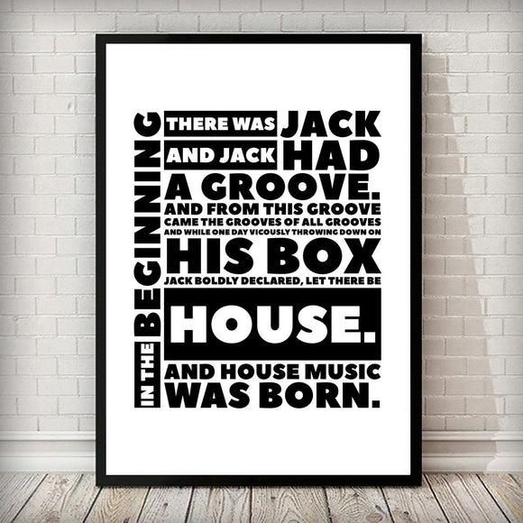 In The Beginning - BOXED Music Typography Fashion Art Print - Rock Salt Prints Ltd