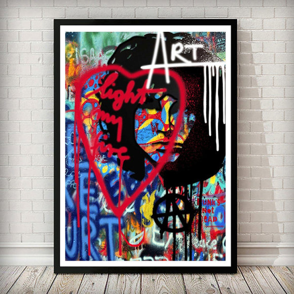 Jim Morrison Pop Graffiti Art Print