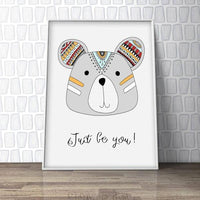 Just Be You - Bear Nursery Art Print - Rock Salt Prints Ltd