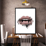 Fashion Lips in Rose Gold / Blush Pink Portrait - Fashion Art Print Hun - Rock Salt Prints