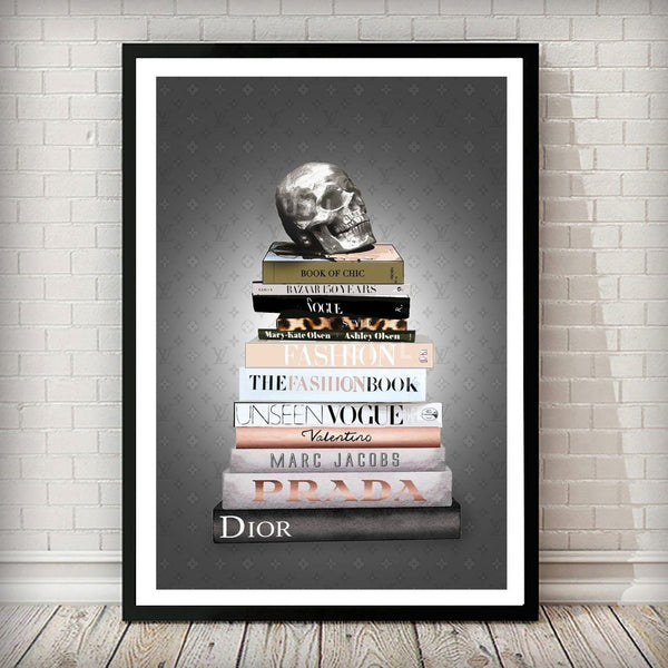 LV SKULL and Fashion Books Dark LV background Art Print - Rock Salt Prints Ltd