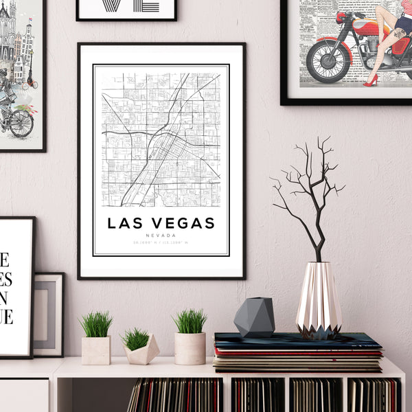 Las Vegas City Map Art Print - Rock Salt Prints Ltd