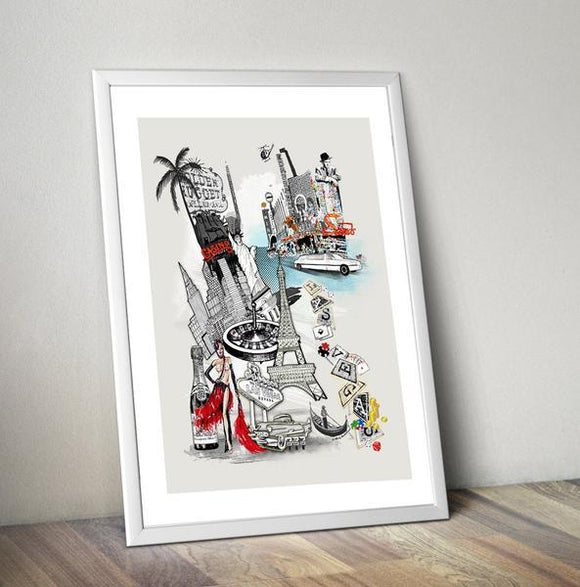 Las Vegas Retro City Print - Rock Salt Prints