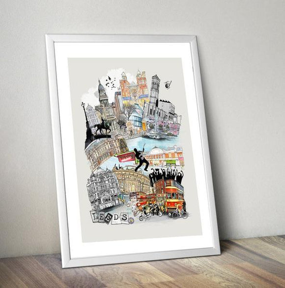 Leeds Retro City Print - Rock Salt Prints Ltd