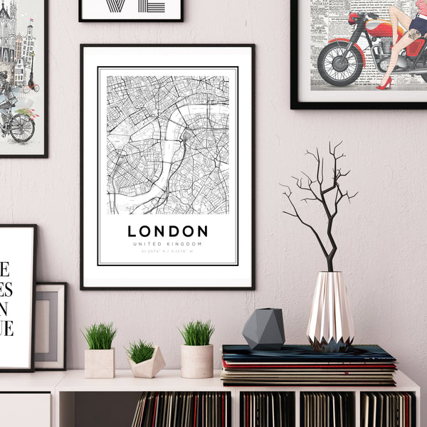 London City Map Art Print - Rock Salt Prints Ltd
