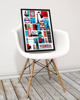 London Mosaic City Print/Black Background - Rock Salt Prints Ltd