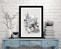 London Retro City Print - Rock Salt Prints Ltd