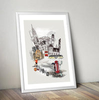 Manchester Retro City Print - Rock Salt Prints Ltd