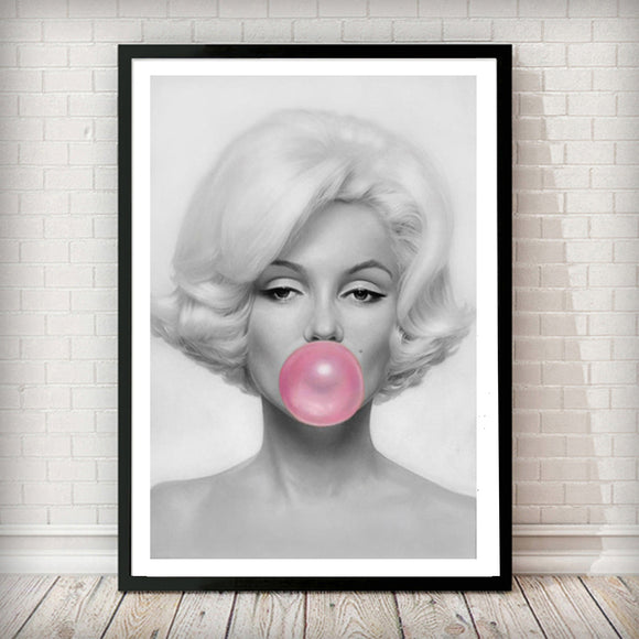Marilyn Monroe Bubble Gum - Fashion Photography Poster - Rock Salt Prints